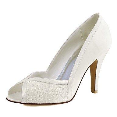 RTRY Donna Scarpe Matrimonio Della Pompa Base Raso Elasticizzato Primavera Estate Party Di Nozze &Amp; Sera Split Joint Stiletto Heel Bianco Avorio 3A-3 3/4In US6.5-7 / EU37 / UK4.5-5 / CN37