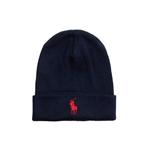 Imagen de polo ralph lauren  para hombre  beanie, logotipo de la marca, fo hat hat, talla única azul