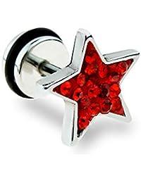 Flesh Tunnel Plug Inlay Piercing 316L Edelstahl 3d Stern Star schwarz weiss