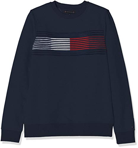 Tommy Hilfiger Jungen Essential Flag Sweatshirt, Blau (Black Iris 002), 104 Kinder Sweatshirt Flag