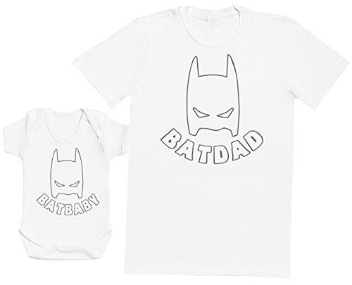 Zarlivia Clothing Bat Baby & Bat Dad - Ensemble Père Bébé Cadeau - Hommes T-Shirt & Body bébé - Blanc - X-Large & 12-18 Mois