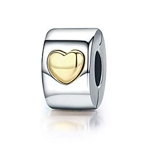 EMEMcharm Clip Charm Herz 925 Sterling Silber Stopper passen Pandora Armband GM25