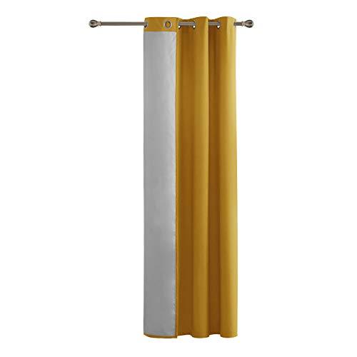 Deconovo tenda termica isolante in tessuto oxford con occhielli per soggiorno giallo 140x260cm un pannello