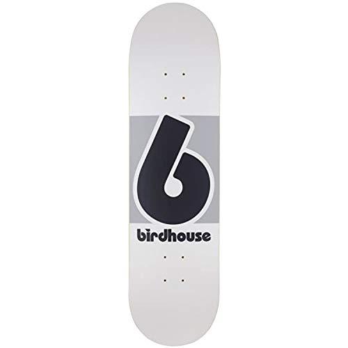 Herren Skateboard Deck (Birdhouse Skateboard-Deck Block Logo - 8.25 inch Weiß-Grau (One Size, Weiß))