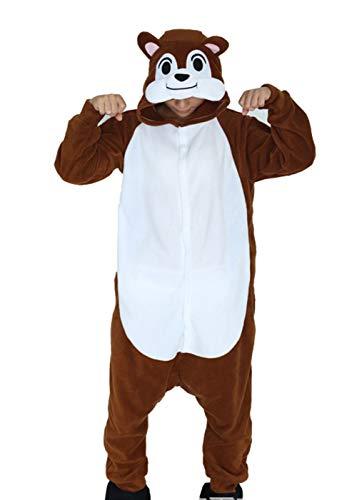 ZBSPORT Streifenhörnchen Jumpsuit Tier Cartoon Fasching Halloween Kostüm Sleepsuit Cosplay Fleece-Overall Pyjama Schlafanzug Erwachsene Unisex (Asian Halloween-kostüme Für Erwachsene)