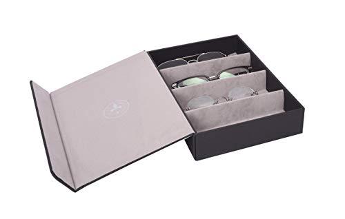 Brillenbox Mehrbrillenetui Brillenetui für bis zu 4 Brillen Quartett Stardust (schwarz) Größe 246x175x51mm robust & edel