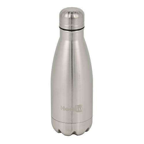 Homiu Trinkflasche 500 Milliliter Ultimate Vacuum Insulated Double Wall Edelstahl Wasser und Getränke 24 Stunden kalt und 12 heiß Sportflasche L Silber (Silber, 350ml)