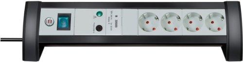Brennenstuhl Premium-Office-Line, Tisch-Steckerleiste 4-fach mit Überspannungsschutz (1,8m Kabel und Schalter) Farbe: lichtgrau mit schwarzem Rahmen