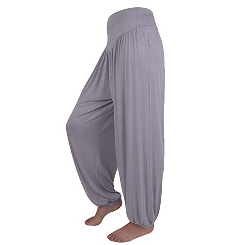 WOZOW Yoga Hosen Damen Haremshose Pumphose Solid Einfarbig Aladdin Indian Thiland Lang Long Bloomers Soft Loose Lose High Waist Casual Bequem Baggy Trousers Stoffhose Freizeithose (L,Grau)