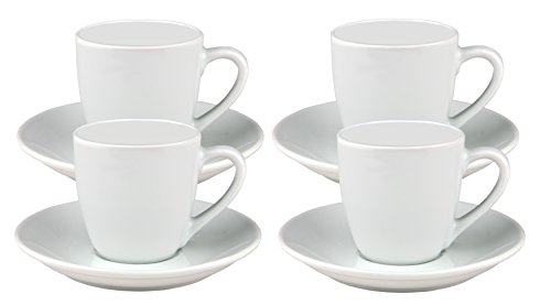 Van Well 4er Set Espressotasse Bistro/Gloria 10cl mit Untertasse 12cm - klassisch - weiß - aus Porzellan