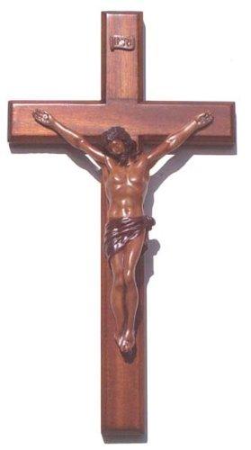 Christliche braun Holzkorpus Kreuz 30cm große lange Wand hängend