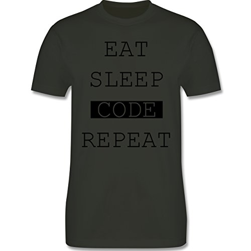 Programmierer - Eat-Sleep-Code-Repeat - Herren Premium T-Shirt Army Grün