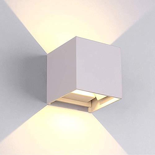 tvfly 12W Led Applique Murale Exterieur / Interieur Blanche, Anti-Eau IP65 Réglable Lampe Moderne Design 3000K Blanc Chaud