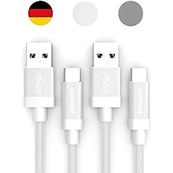 K16 2x Câble USB C vers USB 3.0 Quick Charge 0,3m pour Samsung Galaxy S9 S8 Plus Duos A8 2018 A7 A5 A3 2017 2018 LG G7 Thinq V30s Sony Xperia XZ3 XZ2 Premium compact Typ C