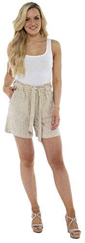 CityComfort Damen Leinenshorts   Frauen Casual Leinen Shorts für Sommer, Urlaub, Strand   Trendy Papiertüte Taille (48, Beige Streifen)