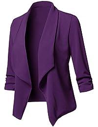Uranus Veste de Tailleur Femme Chic Couleur Unie Blazer Cintré Casual  Grande Taille Manteau Asymétrique 95edbe9bf09