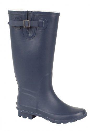 Bottes en caoutchouc pour femme, festivals, de la pluie, de la neige Grand veau FlT pour bottes de pluie Wellington Bottes Marron - Bleu marine