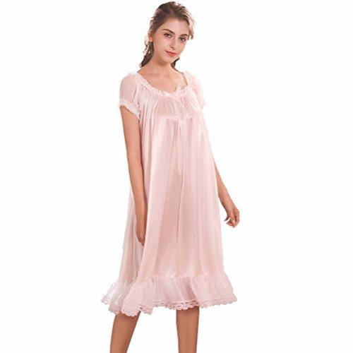 Damen Satin Silk Nachthemd Negliee,Seide seidenmatt Sleepshirt Schlafanzug, Luxus und Charmant Ladies Lang Nachtwäsche Nachtkleid Lingerie Pyjamas Sleepwear - Luxus Nachtwäsche