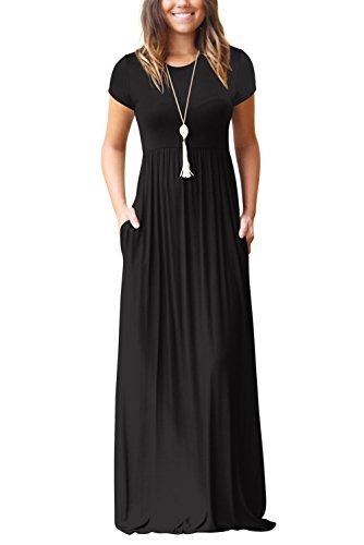Dasbayla Kurze Ärmel Maxikleid Damen Sommer Schwarz Basic Jersey Lang Kleid S - Den Kleid Sommer Lang Für