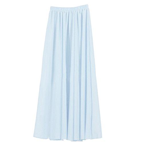 Nlife Frauen-Doppelte Schicht Chiffon- gefalteter Retro- langer Maxi Rock-elastischer Taillen-Rock, 90cm, Farbe: Light Blue - Wide High Heels