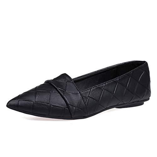 Frau Wohnungen spitz Zehe Slip on Schuhe Frau Ballerinas PU Leder Müßiggänger Bootsschuhe Weave Damen Schuhe