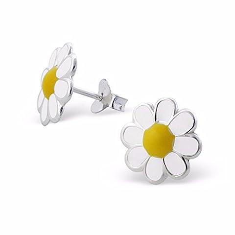 Silvadore a802p pour enfant en argent–Boucles d'Oreilles Clous Femme–Fleur 8pétales Daisy Blanc de soleil Coquelicot pétale + Centre Jaune–Fermoir Papillon écrin cadeau