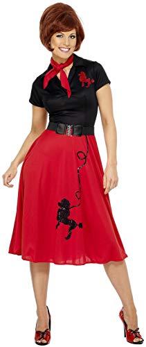 Smiffys Damen 50er Stil Pudel Kostüm, Kleid, Halstuch und Gürtel, Größe: L, 30814