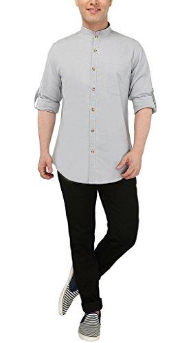 Nick & Jess Herren Sky Blau Mao Kragen Casual Leinen Slim Fit Shirt Blau