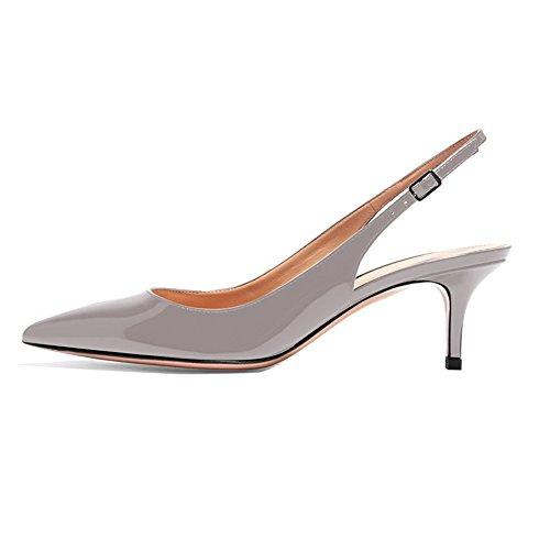 EKS Frauen Spitzschuh Mid Heels Slingback Patent Kleid Party Pumps Schuhe Grau 39 EU -