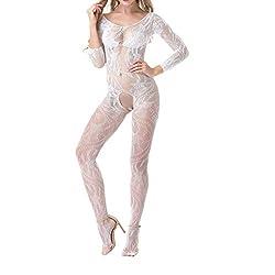 ziYOU Strümpfe Frauen schwarz sexy Porno Kostüme Kleid Phantasie Spielzeug Net Unterwäsche erotische Lagerung Nachtwäsche Teddy Dessous(Weiß B, Freie Größe)
