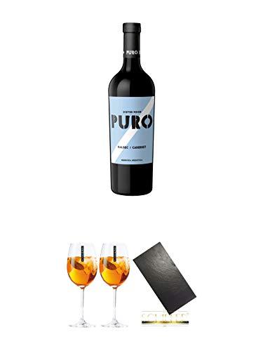 Dieter Meier Puro MALBEC CABERNET Rotwein Argentinien 0,75 Liter + Scavi & Ray Wein Glas 2 Stück + Buffet-Platte Servierplatte (ohne Griffe) Schieferplatte aus Schiefer 60 x 30 cm schwarz