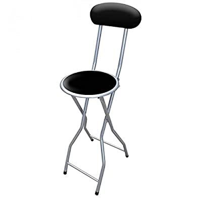 1x Folding Breakfast Bar Stool Office Kitchen Parties High Chair Black & Silver - low-cost UK light store.