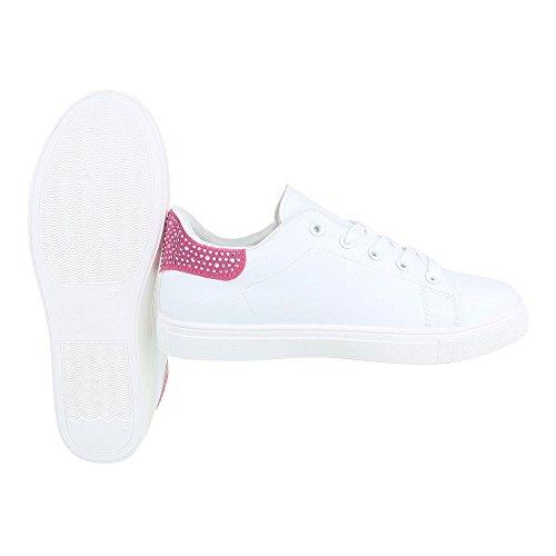 Low-Top Sneaker Damenschuhe Low-Top Sneakers Schnürsenkel Ital-Design Freizeitschuhe Weiß Rosa