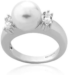 Majorica Tu Y Yo - Anillo de plata de ley con perla, talla 17 (18,16 mm)