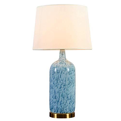ZHAO YING Moderne amerikanische Studie Wohnzimmer Schlafzimmer Keramik Tischlampe, schlanke minimalistische LED-Lampe, Stoff Lampenschirm Keramik Tischlampe (Color : Beige) - Handbemalte Mini-lampe