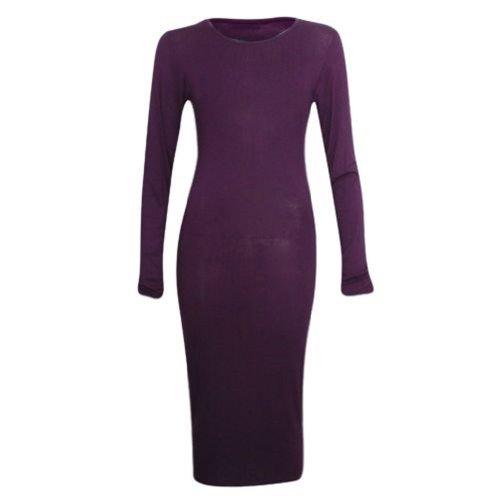 sugerdiva. Femmes Mesdames robe Midi Bodycon à manches longues Violet - Violet