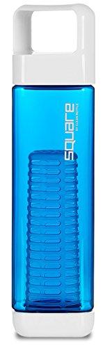 Clean Bottle Square Trinkflasche mit Infusor Früchtekorb für Schorlen, 740ml, BPA-frei, blau, von beiden Seiten aufschraubbar, auslaufsicher, spülmaschinengeeignet, perfekt für Sport und Freizeit
