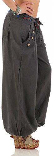 malito Pumphose mit Gürtel Haremshose Uni-Farben 3417 Damen One Size Dunkelgrau