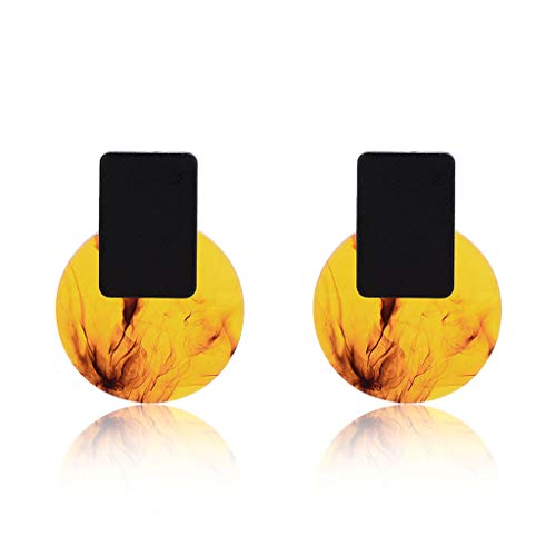 Dabixx Pendientes de Resina acrílica, Diseño Acetato Pendientes de Lujo Vintage Mujeres joyería declaración Ronda - Amarillo