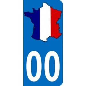 Registration Plate Sticker with French Flag and Map with Choice