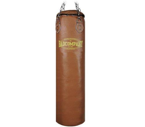 Bad Company Retro Boxsack I Leder Punching Bag gefüllt inkl. Heavy Duty Vierpunkt-Stahlkette - 120 x 35 cm