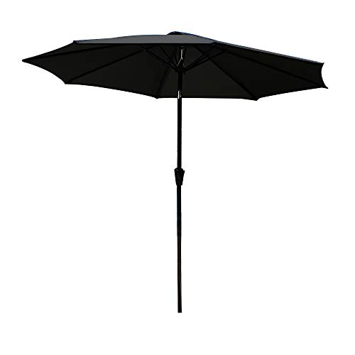 Autofamily Parasol en Polyester, UV Protection et imperméable, Diamètre 2,7 m, avec manivelle et Couverture de Pluie, pour Terrasse, Jardin, Plage, Piscine, BBQ etc. (Noir)
