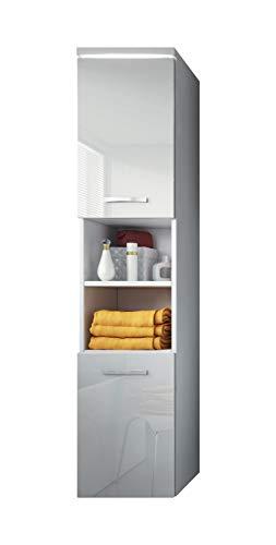 *Badezimmer Schrank Paso 160 cm Hochglanz Weiß Fronten – Regal Schrank Hochschrank Schrank Möbel*