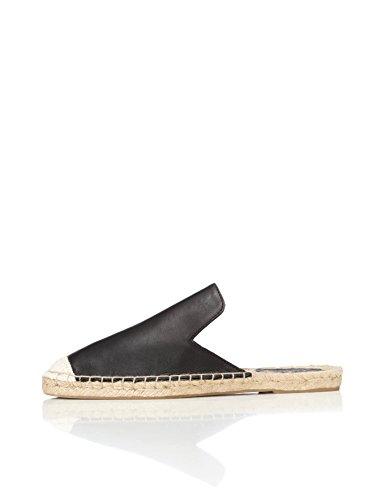 FIND Slippers Damen Espadrille-Design mit Offener Ferse, Schwarz (Black), 41 EU