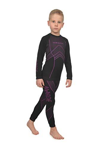 Freenord NORDE THERMOTECH Kinder Sport Thermoaktiv Atmungsaktiv Funktionswäsche (Hemd + Hose) Set (Schwarz/Rosa, 110/116)