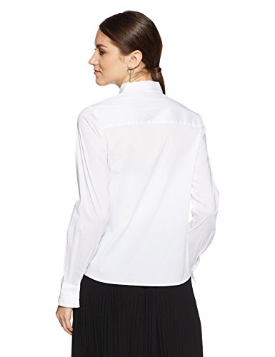 Van Heusen Women's Plain Regular Fit Synthetic Shirt (VWSF318L010605_Off-White_L)