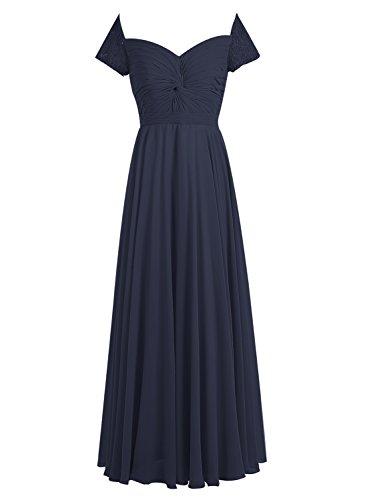 Bbonlinedress Robe de cérémonie Robe de demoiselle d'honneur en mousseline forme empire longueur ras du sol Marine