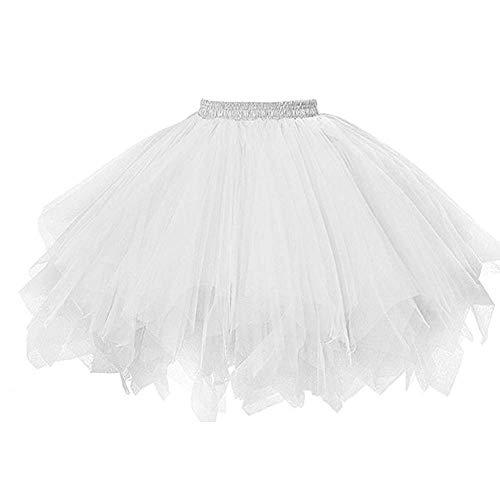 Andouy Damen Tutu Rock Tüll Petticoat Ballett Tanz Organza Geschichteten Blase Kostüm Dress-up(Weiß1)