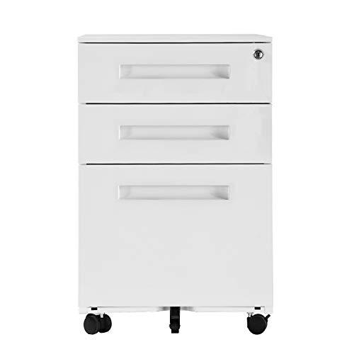 DlandHome Metall Rollcontainer, Aktenschränke, Büro-Rollcontainer für A4, 3 Schublade, Mobilen, Abschließbar, 60cm H,mit Griff B weiß