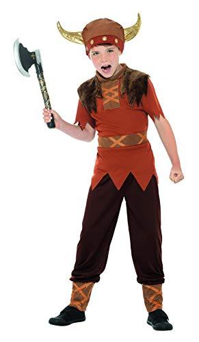 Fancy Ole - Jungen Boy Kinder Wikinger Krieger Kämpfer Kostüm mit Oberteil, Hemd und Helm, perfekt für Karneval, Fasching und Fastnacht, 104-116, Braun